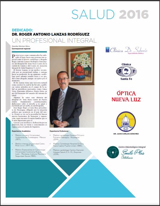Suplemento Salud 2016. Dedicado al Dr. Roger Antonio Lanzas Rodríguez