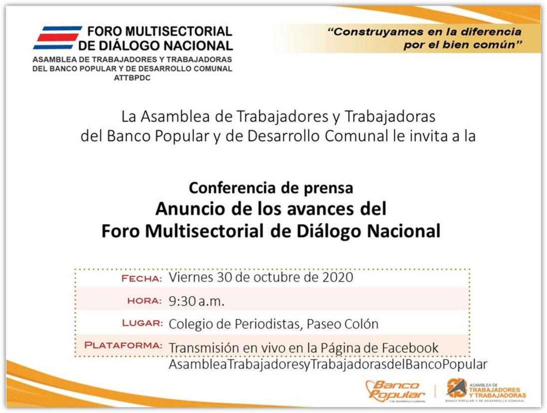 Anuncio de los avances del Foro Multisectorial de Diálogo Nacional
