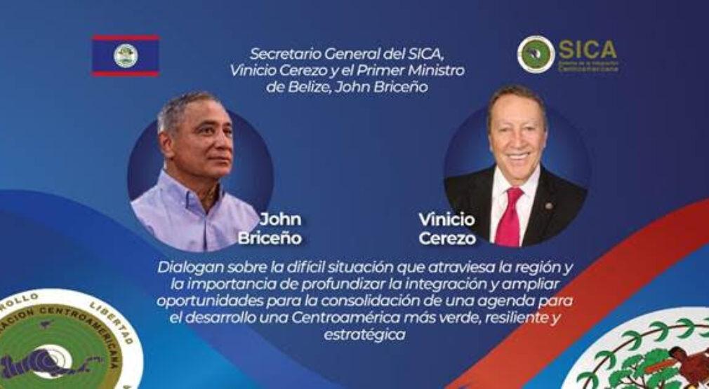 SICA: Vinicio Cerezo y Primer Ministro de Belize acuerdan impulsar agenda conjunta frente a retos regionales