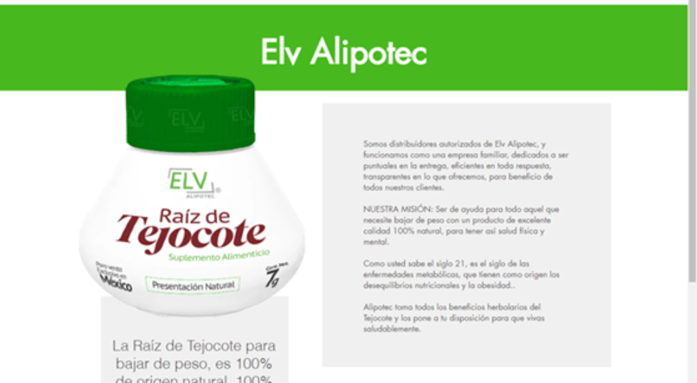 Producto sin registro sanitario que se ofrece por página web