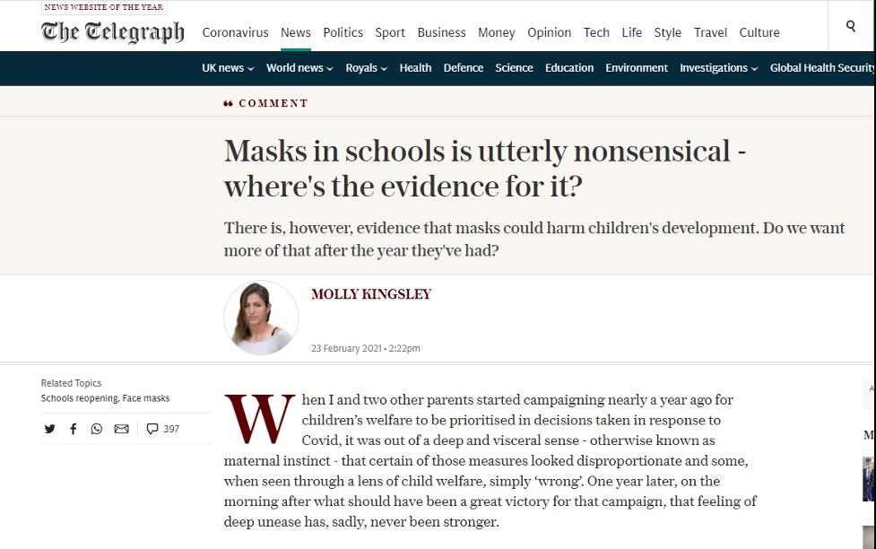 Las mascarillas en las escuelas/colegios no tienen ningún sentido: ¿dónde están las pruebas?