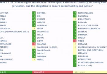 Palestina en el Consejo de Derechos Humanos de Naciones Unidas: a propósito de un reciente voto sobre justicia y rendición de cuentas para las víctimas palestinas